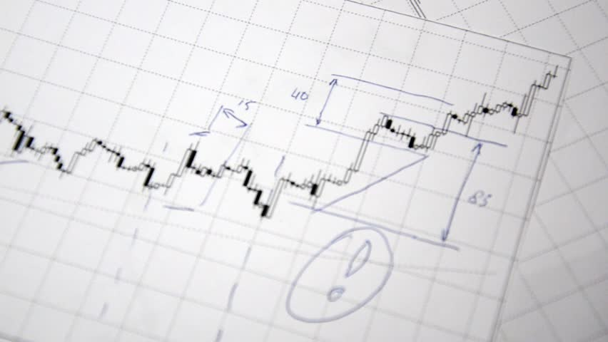 The analysis of price movements. (Graphs and diagrams with a magnifying glass) | Shutterstock HD Video #2792344