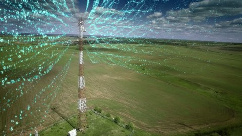 AERIAL Telecommunication antenna with signal digits information flow concept communication Cellular Cellphone relay tower. Medium shot.