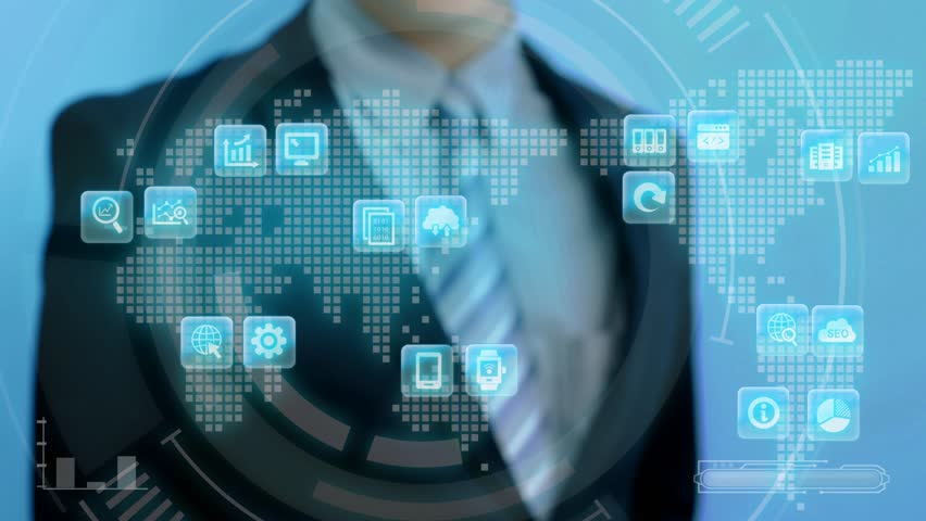 Video of businessman touch big data icon on blue background   Shutterstock HD Video #27928624