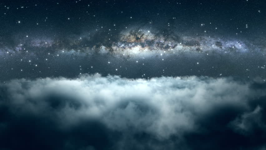 Flying Through Dense Clouds at Night with Beautiful View of Milky Way Galaxy and Twinkling Stars in The Background Seamless Looping Motion Background Animated Video Backdrop