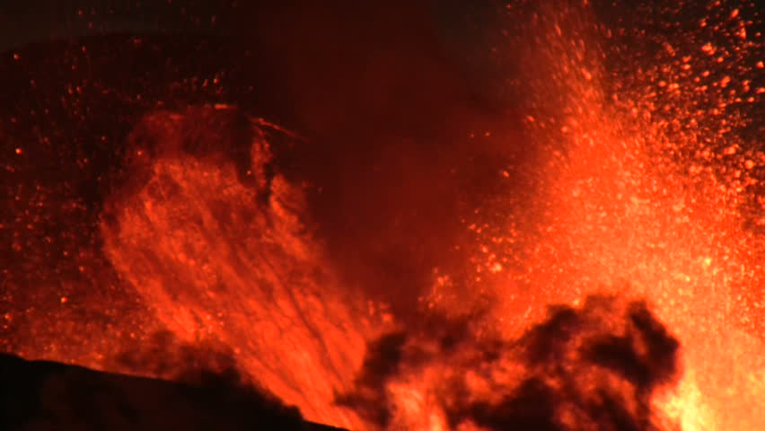 Volcanic Eruption in Iceland Marz 2010, Eyjafjallajokull. Footage taken in extreme conditions only a half mile from the crater during frequent gas explosions from advancing lava. A mountain is born.