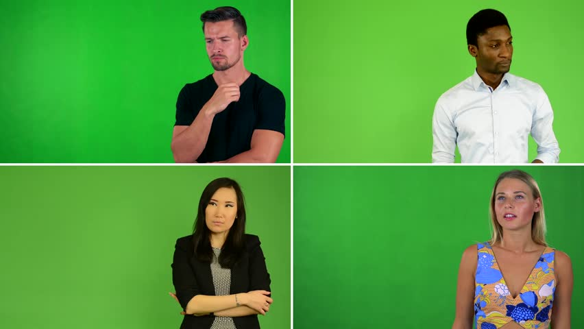 4K compilation (montage) - people think - green screen studio | Shutterstock HD Video #27989584