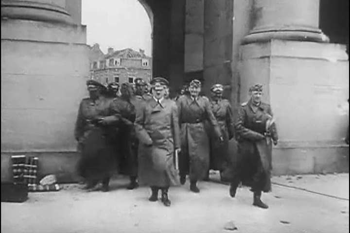 1940s: Hitler meets with his military leaders in France, and is welcomed enthusiastically by soldiers in 1940.