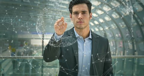 Futuristic businessman, student in a suit, uses a holographic hologram for the world's fast, speed Internet, connect with contacts, quick search, location Concept business future, network, connection.