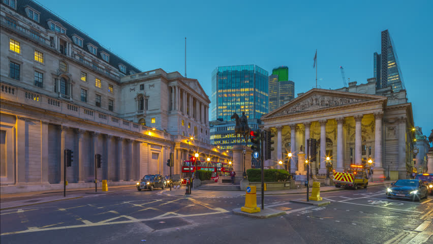 Motion control day to night timelapse of commuters activity at the front Bank of England and The Royal Exchange in the City of London.