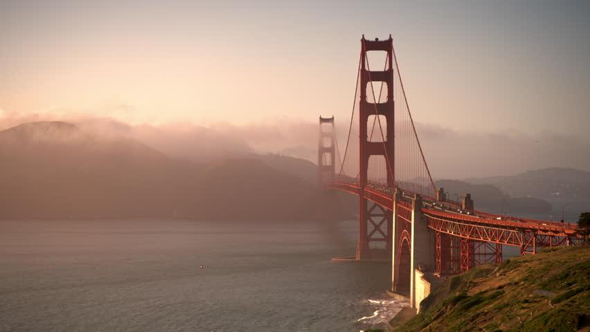 Golden Gate Bridge in San Francisco California in 4K at sunset - wide shot