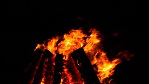 Waterfire bonfires burning in Providence, Rhode Island. 4K