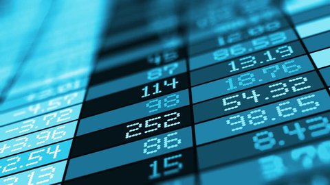 Business success, financial development, trading commercial success and corporate management growth concept: 3D render of stock exchange market trade big data on table chart screen, monitor or display
