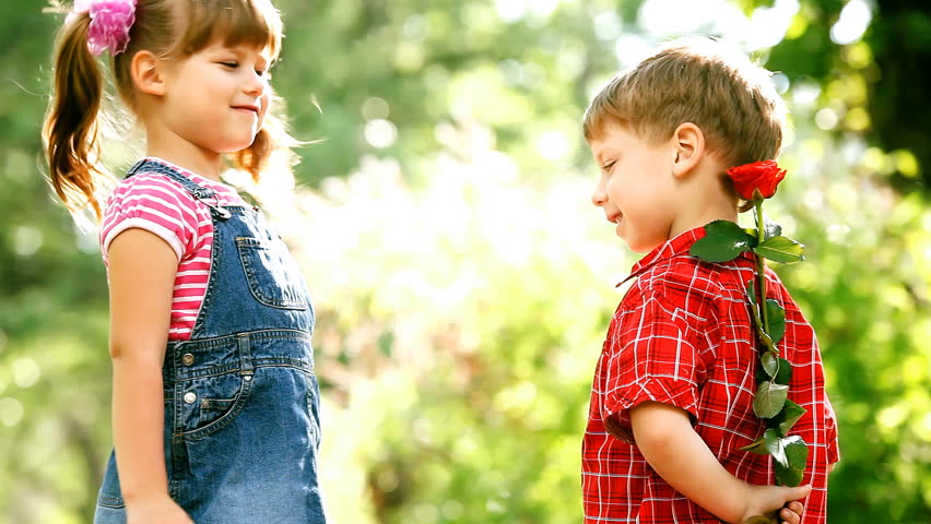 Two child funning in park outdoors stock footage video 2632940 two children speaking and boy present flower hd stock video clip altavistaventures Image collections