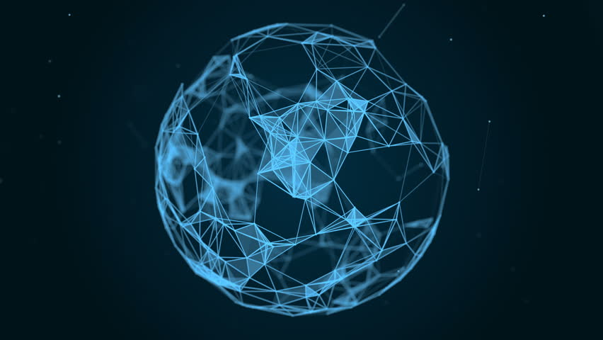 Sphere, globe and space in the form of a plexus. Abstract geometric background with moving lines, dots and triangles. Plexus fantasy abstract technology. Loop animations #28159804