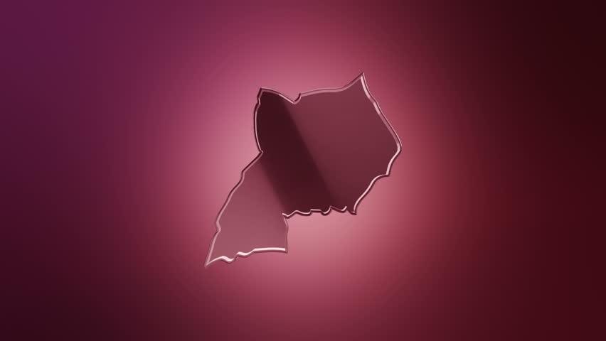D Animation Rotation Of Symbol Of Uganda Map From Glass - Uganda map hd