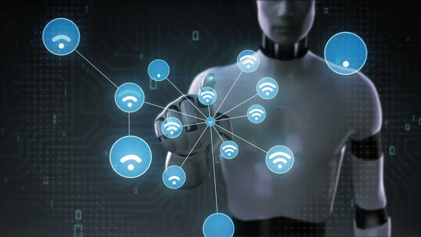 Robot, cyborg touch screen, Wireless technology icon connect global world map, dot makes global communication. social media network.version 2. | Shutterstock HD Video #28165714