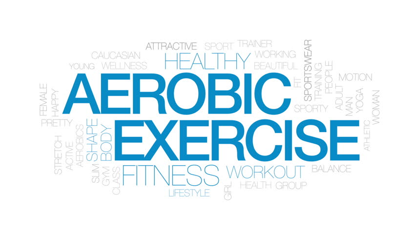 Aerobic exercise animated word cloud, text design animation. Kinetic typography.