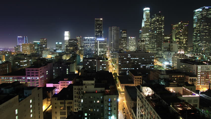 Wide Angle Time Lapse of Downtown Los Angeles at Night