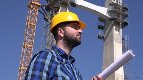 Working Outdoors Construction Worker Engineer Stock Footage