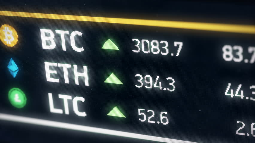 Bitcoin, Ether, Litecoin cryptocurrency prices growing, digital money gain value. Digital money value going up on the market. Etherium, Bitcoin, Litecoin cryptocurrencies | Shutterstock HD Video #28268794