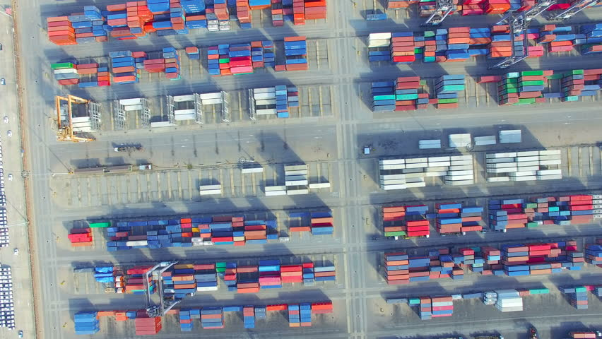 Container cargo ship, import export, business logistic supply chain transportation concept for shipping aerial view 90 degree dolly tracking shot background, 4K | Shutterstock HD Video #28269124