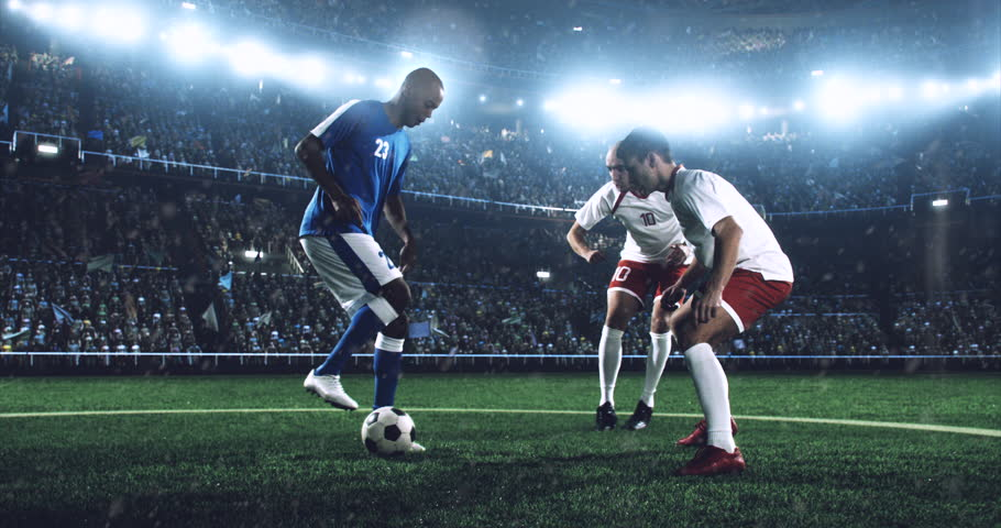 4k footage of a soccer player in dramatic play during a soccer game on a professional outdoor soccer stadium. Players wear unbranded uniform. Stadium and crowd are made in 3D. | Shutterstock HD Video #28283554