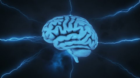 Brainstorm - 3D render illustrating the thought process featuring a brain, lightning and clouds