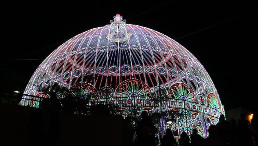 Holiday lights.The dome decorated with festive lights. Jerusalem