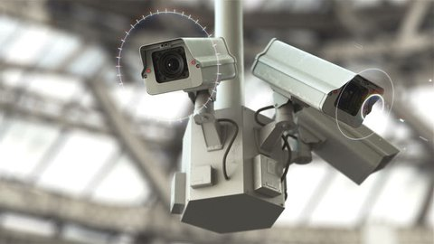 Futuristic security cameras scanning the street in 4K