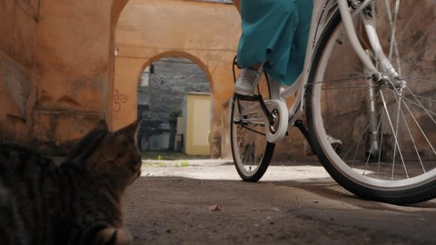 Young attractive woman wearing long skirt riding vintage white bike in old european courtyard. past the cat. Slow motion.