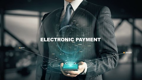 Businessman with Electronic Payment hologram concept