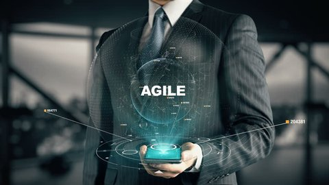 Businessman with Agile hologram concept