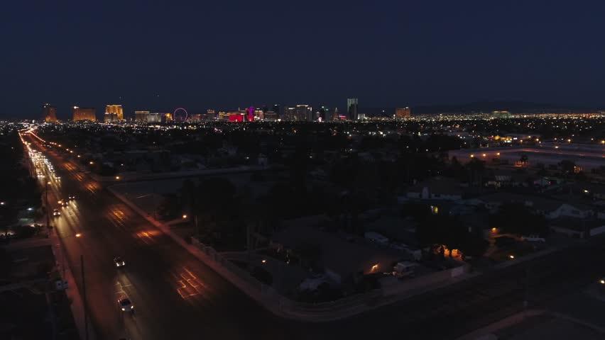 An establishing shot of Las Vegas Nevada at night | Shutterstock HD Video #28347424