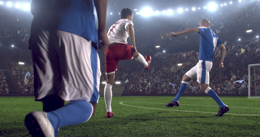4k footage of a soccer player in dramatic play during a soccer game on a professional outdoor soccer stadium. Players wear unbranded uniform. Stadium and crowd are made in 3D.  | Shutterstock HD Video #28349404