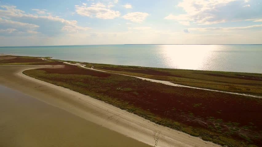 Aerial shot 4k. Dead sea aerial view in Ukraine. Landscape and riches of the sea | Shutterstock HD Video #28359490