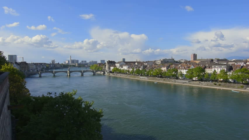 Overview of the Rhine in Basel, Switzerland.  | Shutterstock HD Video #28368169