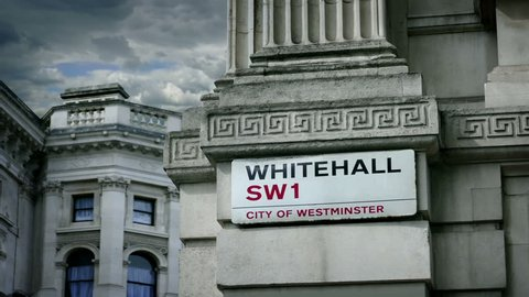 Whitehall Sign On Side Of Downing Street