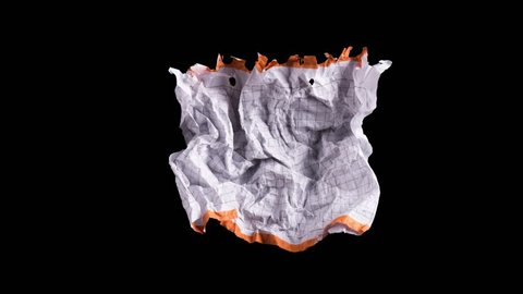 Stop motion animation: unwrapping and wrapping blank sheet of paper on black background. Crumpled piece of white paper exercise book.