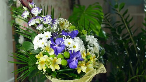 Flower bouquet in the rays of light, rotation, the floral composition consists of Alstroemeria, Chrysanthemum bacardi, Orchid vanda, Santini , gypsophila, Eustoma,