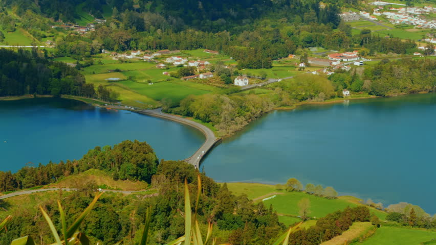 Telephoto shot of Sao Miguel, The Azores, Portugal - Panning view of Sete Cidades Lake from Miradouro Cerrado das Freiras lookout