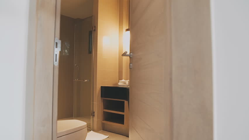 Bathroom interior close up - HD stock video clip & Hotel Sauna. Sauna Doors Open Automatically. Stock Footage Video ... Pezcame.Com