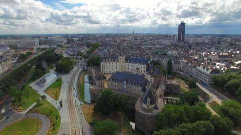 Aerial view of cityscape of Nantes, fort Chateau de Nantes - Normandy, France, 4k UHD