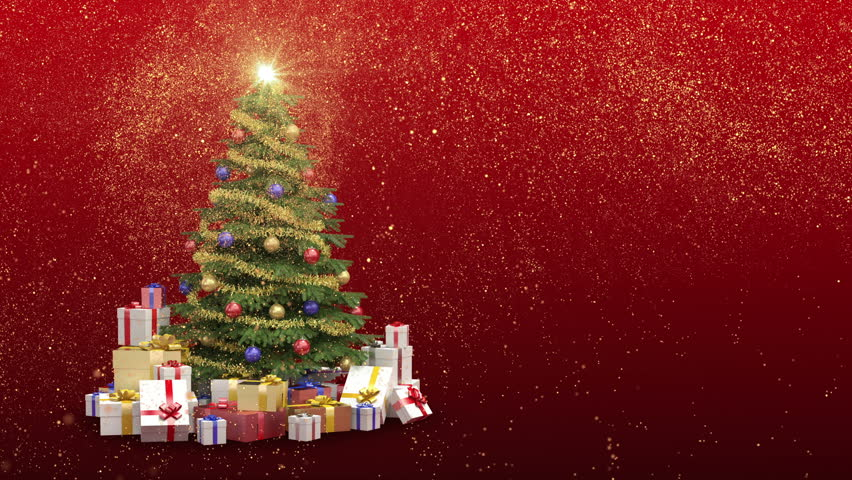 Red Christmas Background With Xmas Tree And Gifts: Beautiful Christmas Tree With Gifts And Presents