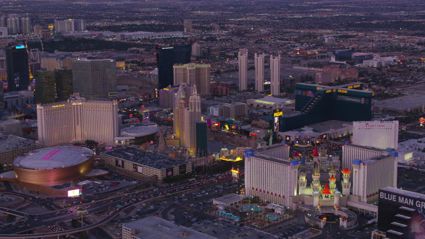 Las Vegas, Nevada circa-2017, Aerial view of Las Vegas Strip at dusk. Shot with Cineflex and RED Epic-W Helium.
