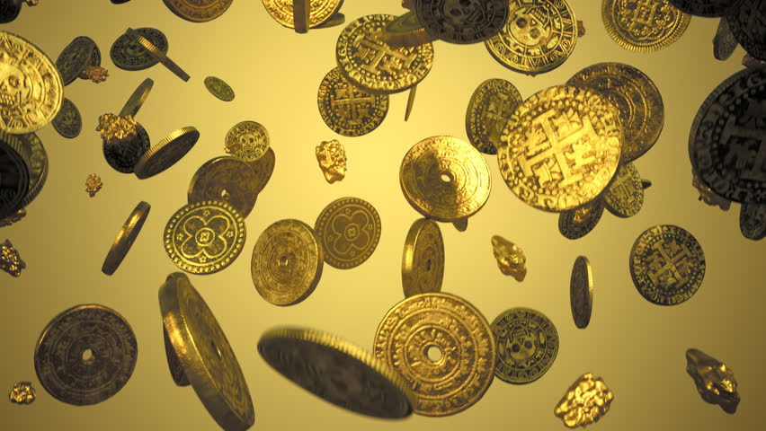 02823 Loopable footage of falling gold coins and gold nuggets .