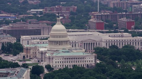 Washington, D.C. circa-2017, Aerial view of the Capitol and Rayburn House Office Building. Shot with Cineflex and RED Epic-W Helium.