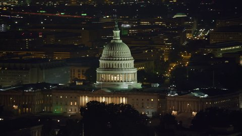Washington, D.C. circa-2017, Aerial view of the United States Capitol building at night. Shot with Cineflex and RED Epic-W Helium.