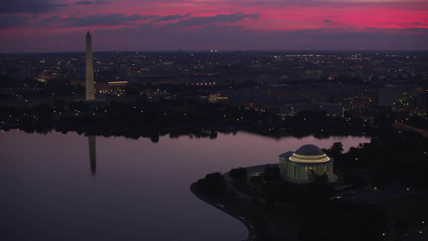 Washington, D.C. circa-2017, Flying over Jefferson Memorial and Tidal Basin towards the Washington Monument. Shot with Cineflex and RED Epic-W Helium.
