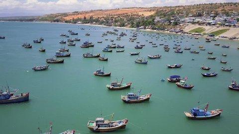 Aerial of Mui Ne fishing village, Vietnam