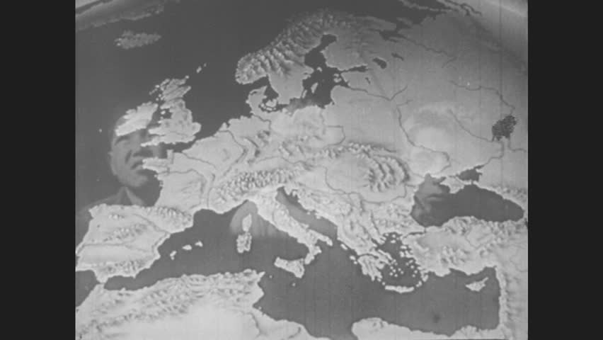 1940s Map Of Europe.Europe 1940s Map Of Europe Stock Footage Video 100 Royalty