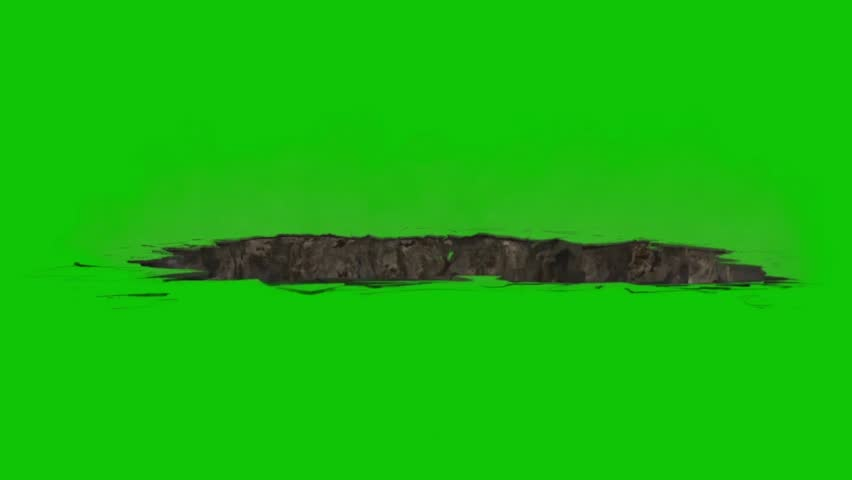 Chasm Hole Destruction Green Screen 3D Rendering Animation VFX
