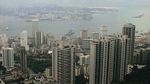 HONG KONG - 1978: view of the cityscape in 1978 in Hong Kong