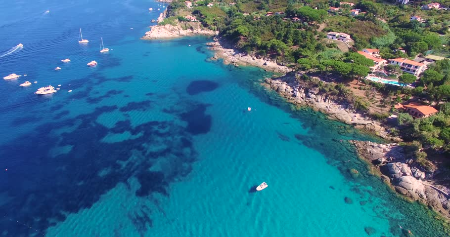 Crystal clear blue water of the Italian island of Elba