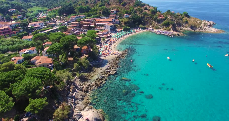 Amazing view of the beach in Sant' Andrea, ELba Italy on a warm sunny day.